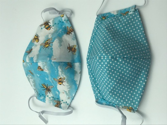 Bees with Clouds with White Polka Dots on Light Blue on Reverse Side - Reversible Limited Edition Face Mask image 0
