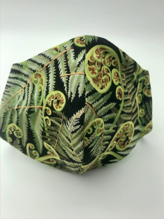 Koru Frond with White on Green Polka Dots on Reverse Side - Reversible Limited Edition Face Mask image 0