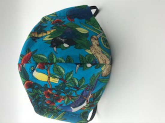 Kiwiana Flora and Fauna with Flax on Reverse Side - Reversible Limited Edition Face Mask image 0