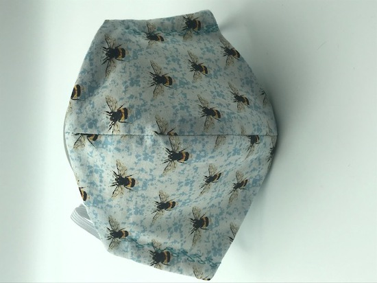 Blue Bee Haven with White Polka Dots on Light Blue on Reverse Side - Reversible Limited Edition Face Mask image 1