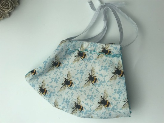 Blue Bee Haven with White Polka Dots on Light Blue on Reverse Side - Reversible Limited Edition Face Mask image 5