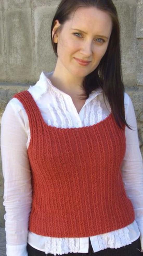 Fancy Ribbing Tank Top Hemp Knitting Pattern image 0