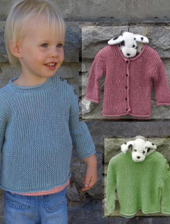 Baby Garter Stitch Pullover and Cardi Hemp Knitting Pattern - Children image 0