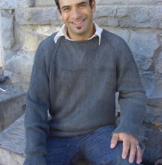 Casual Garter Stitch Pullover Hemp Knitting Pattern - Mens image 0