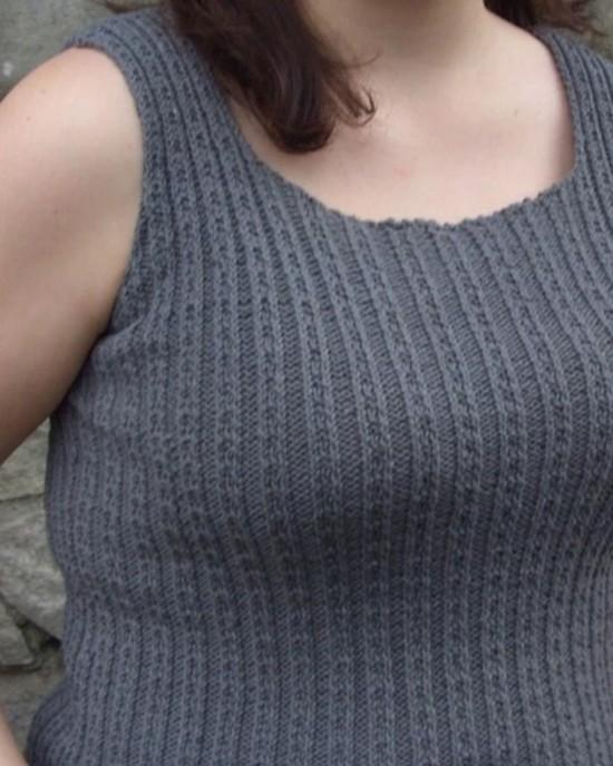 Fancy Ribbing Tank Top Hemp Knitting Pattern image 1