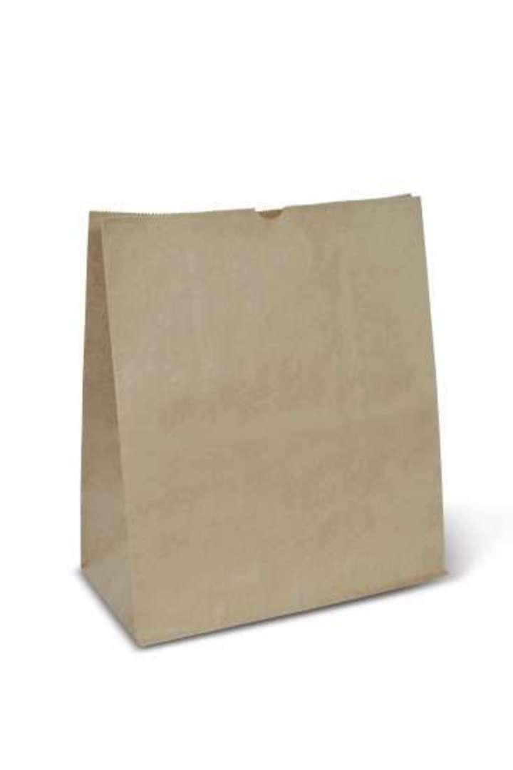 Bag Block Bottom Paper SMALL CHECKOUT 255W x 305H x 140 (50) image 0