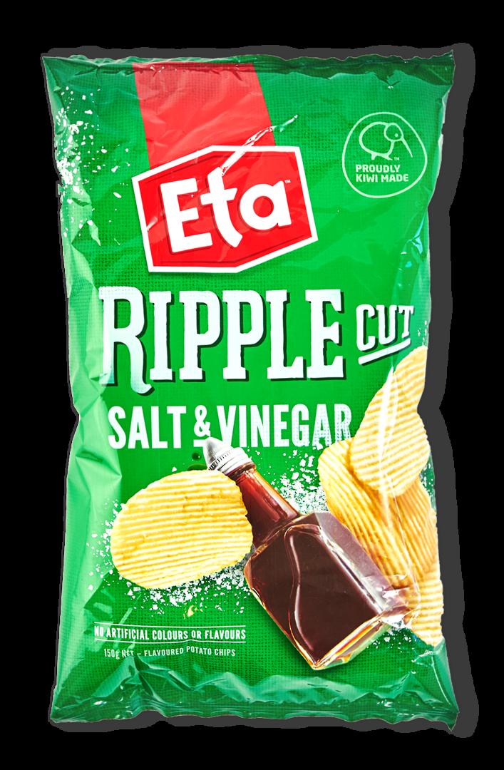 Chips Salt n Vinegar Eta Spudz Ripple 40gm (Carton 24) image 0