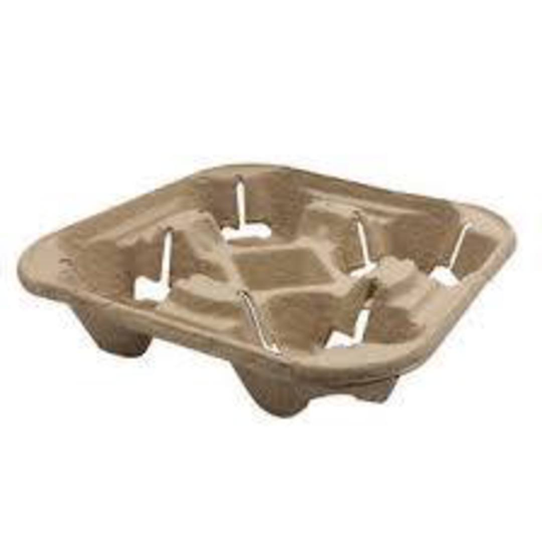 Coffee Cup holder Tray Grey 4 Cup (25) Compostable image 0