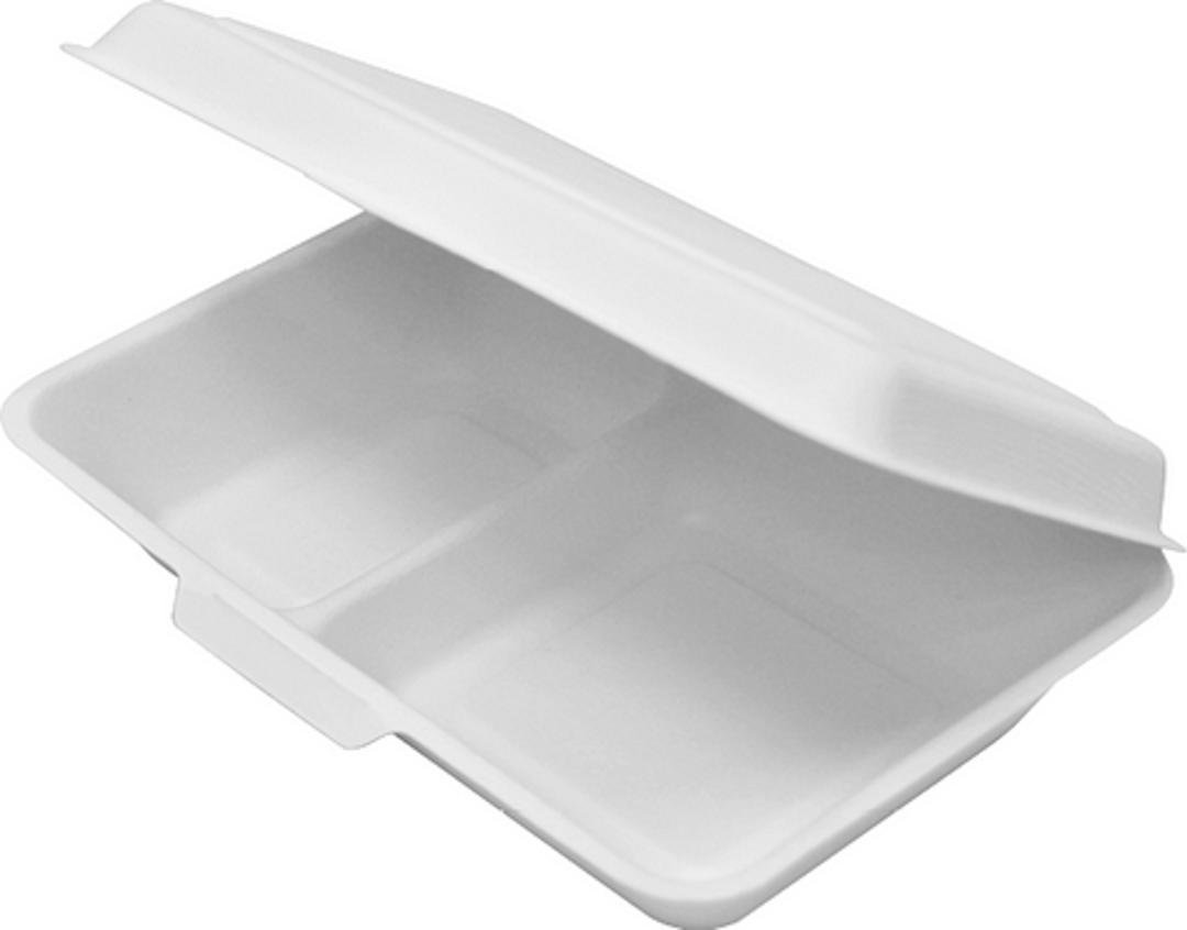 Foodpack 2 Compartment White 240 x 150 x 65mm (25) Enviroboard image 0