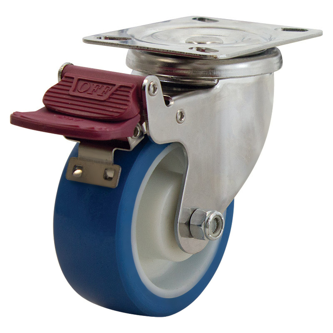 Swivel Brake SS Castor with 100mm Rebound Polyurethane Wheel image 0