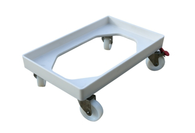 White Crate Skate with Nylon Wheels / SS Castors image 0