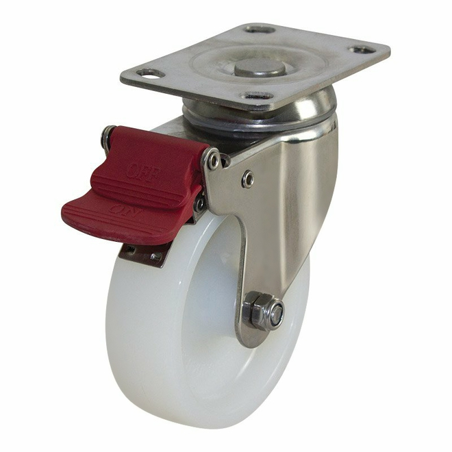 Swivel Brake SS Castor with 100mm Nylon Wheel image 0