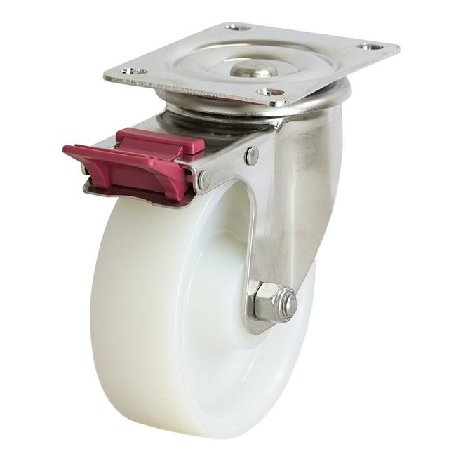 Swivel Brake SS Castor with 150mm Nylon Wheel image 0