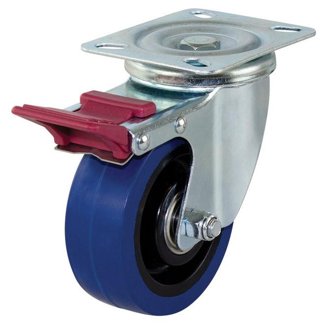 Swivel Brake Castor with 100mm Rebound Rubber Wheel image 0