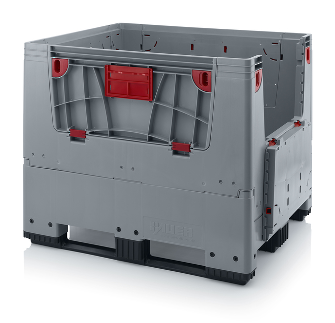 900 Litre Collapsible Pallet Bin  Solid with Access Doors image 1