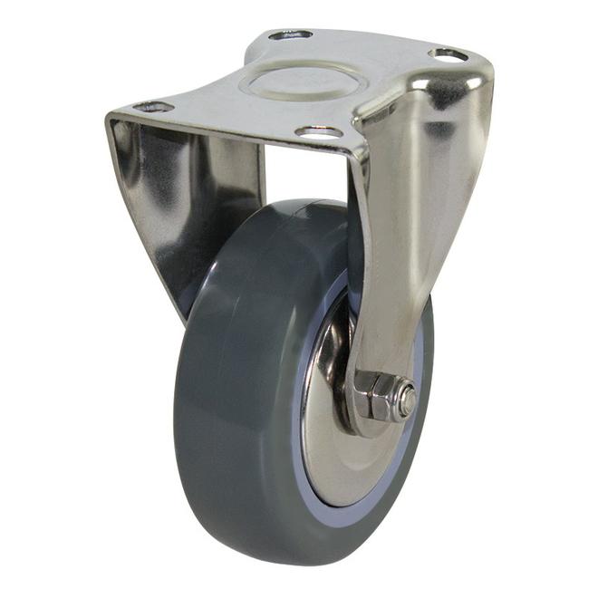 Rigid SS Castor with 100mm Polyurethane Wheel image 0