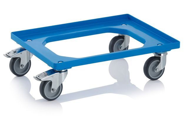 Blue Crate Skate with 100mm Rubber Wheels / ZP Castors image 0