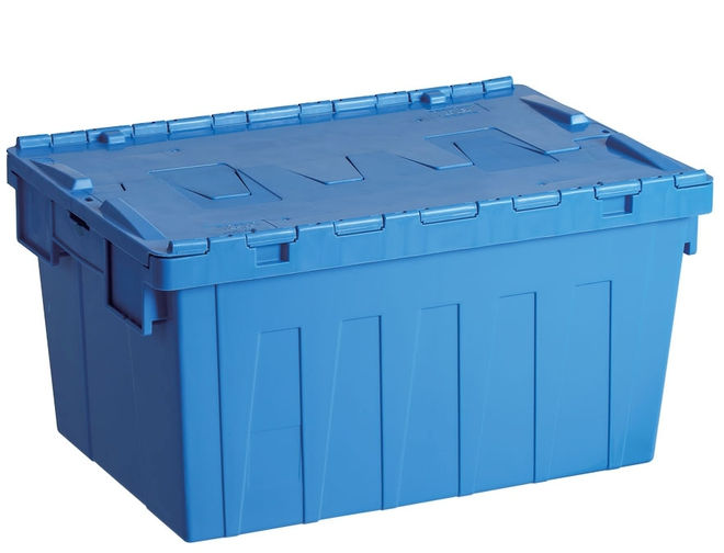 55 Litre Attached Lid Crate (600 x 400mm) image 0