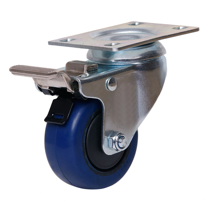 Swivel Brake Castor with 75mm Rebound Rubber Wheel image 0