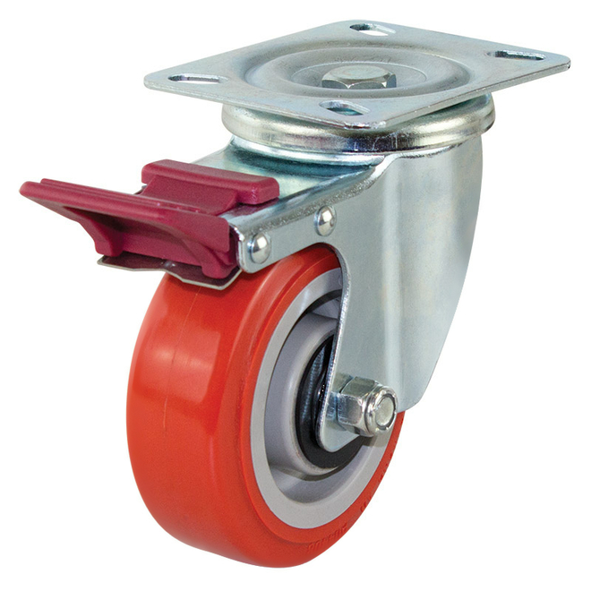 Swivel Brake Castor with 100mm Polyurethane Wheel image 0