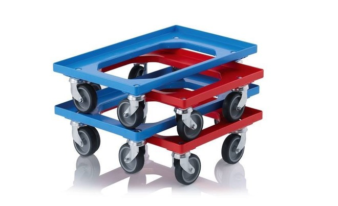 Red Crate Skate with 100mm Nylon Wheels / ZP Castors image 3