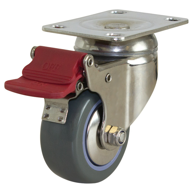 Swivel Brake SS Castor with 75mm Polyurethane Wheel image 0
