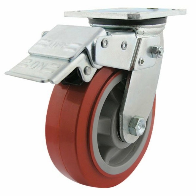 Swivel Lock Brake Castor with 150mm Polyurethane Wheel image 0