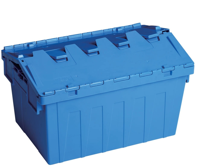 45 Litre Attached Lid Crate (600 x 400mm) image 1