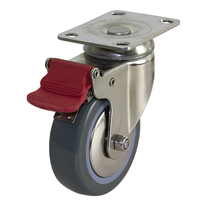 Swivel Brake SS Castor with 100mm Polyurethane Wheel image 0