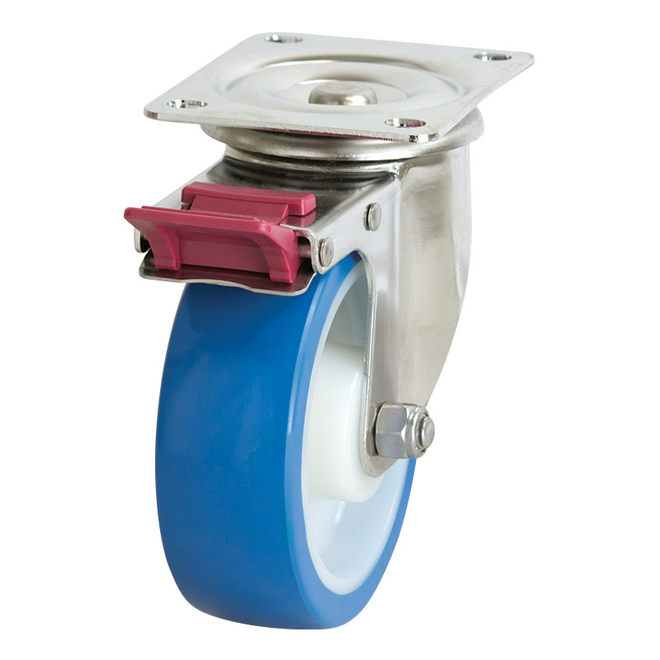 Swivel Brake SS Castor with 150mm Rebound Polyurethane Wheel image 0