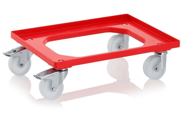 Red Crate Skate with 100mm Nylon Wheels / ZP Castors image 0