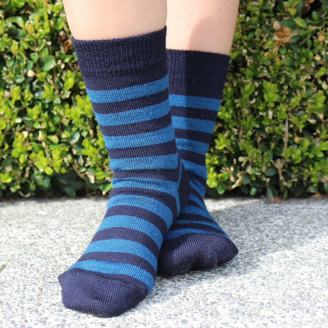 Merino Crew Socks - Navy with blue stripe image 2