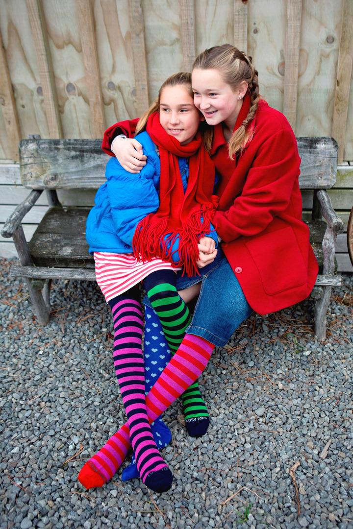 Merino Socks - Knee High Hearts and Stripes - Unisex image 3