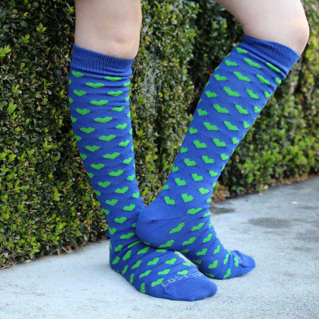 Long Merino Blue Lime Heart Socks - Child image 0