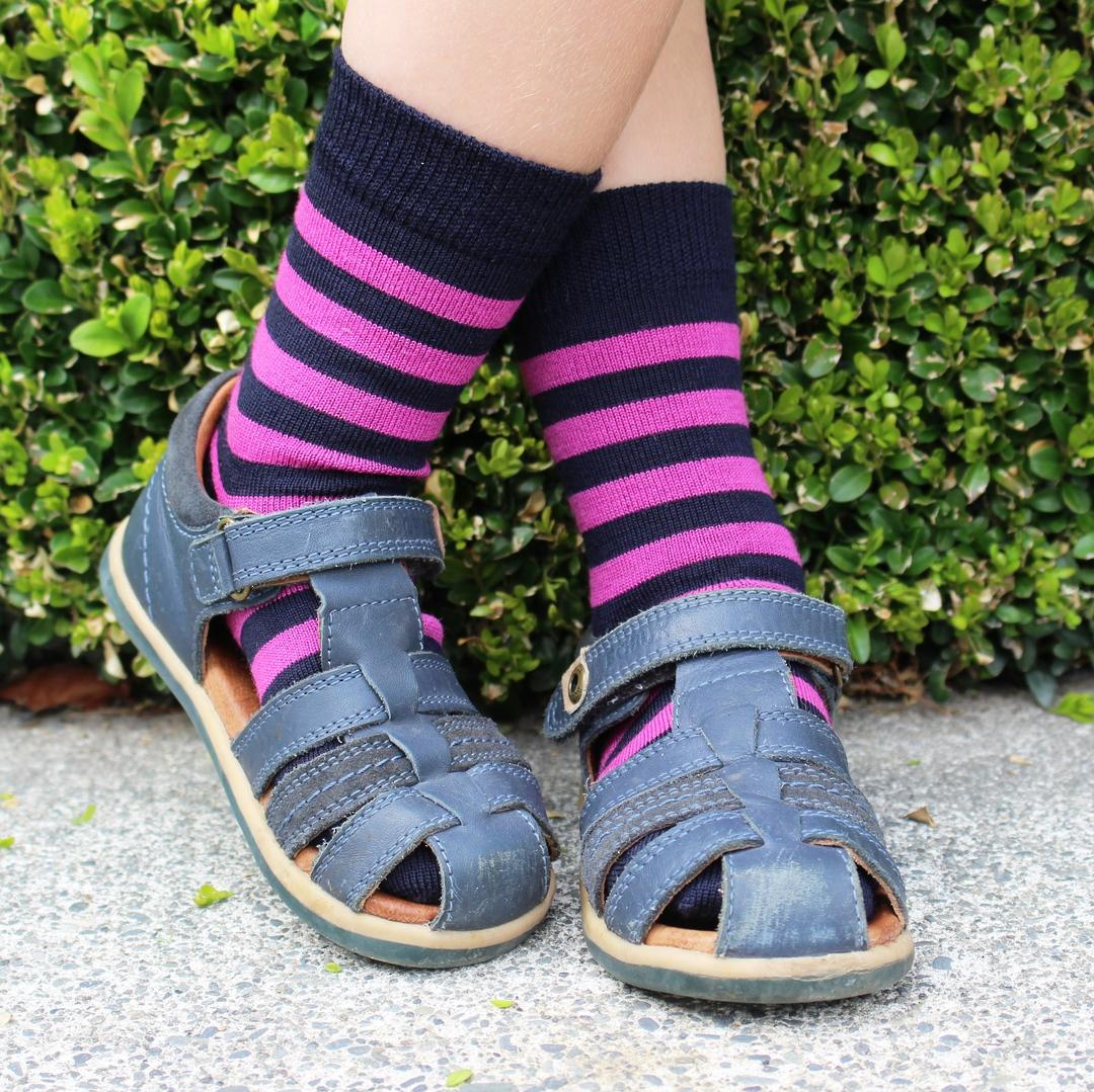 Merino Socks - Navy with pink stripe image 1