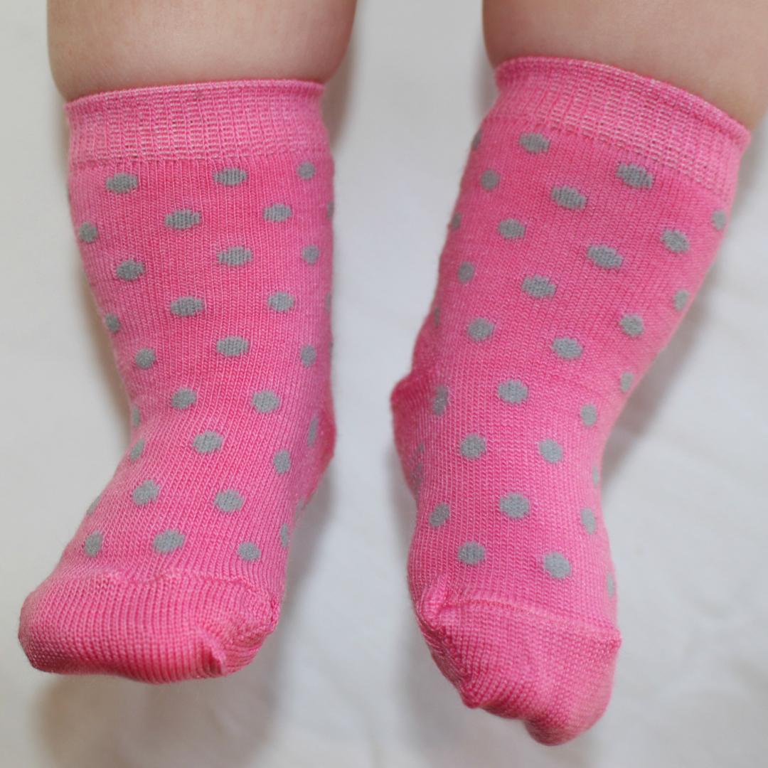Merino Dot Baby Socks - Pink Crew image 0