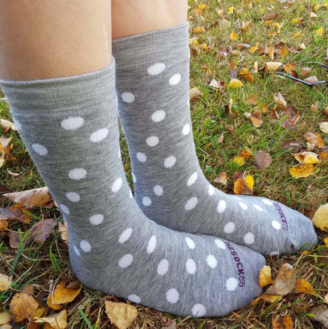 Full Cushion Merino Sock Grey with Cream Dots image 0