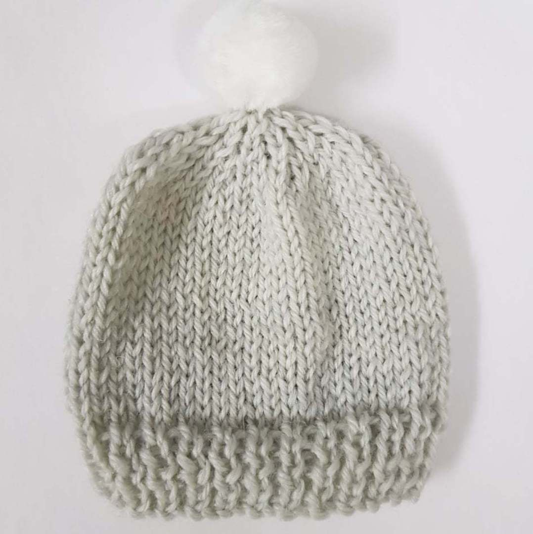 Merino Baby Hat with Pom Pom image 2