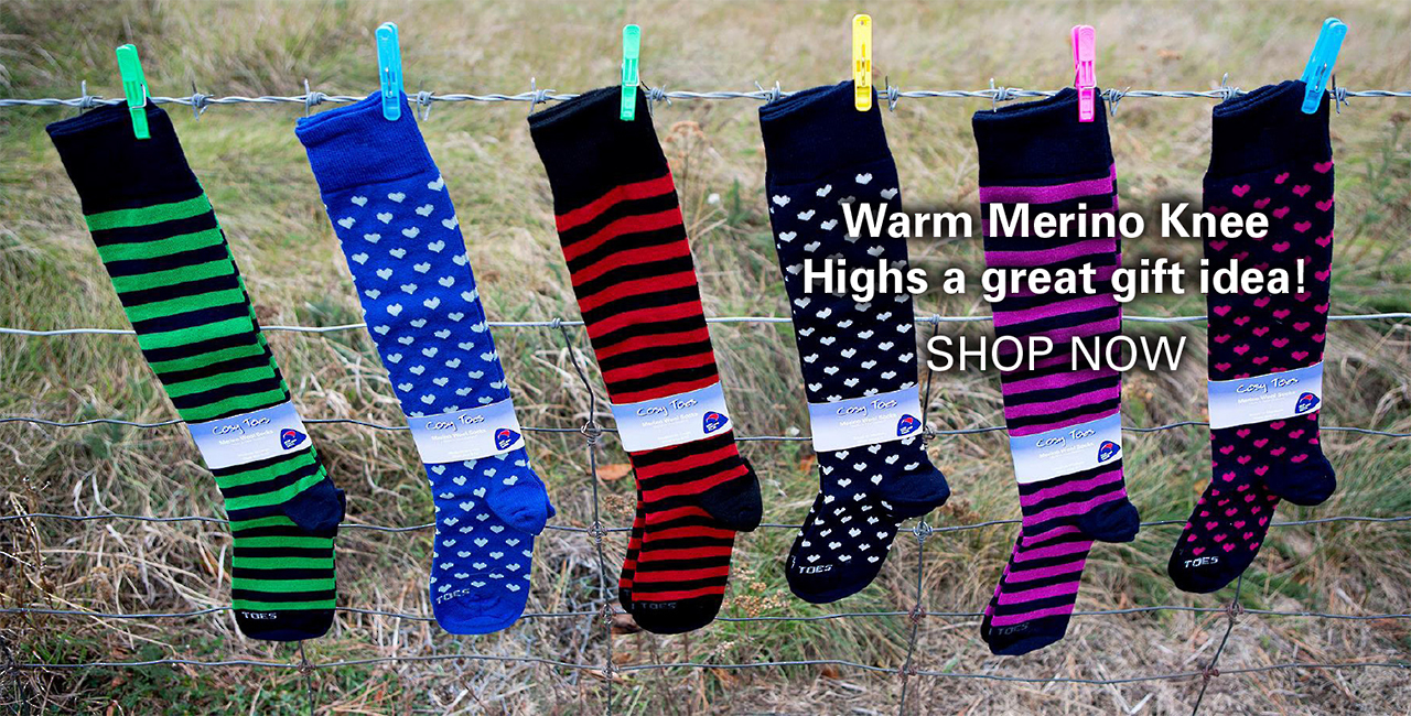 Knee high merino wool socks