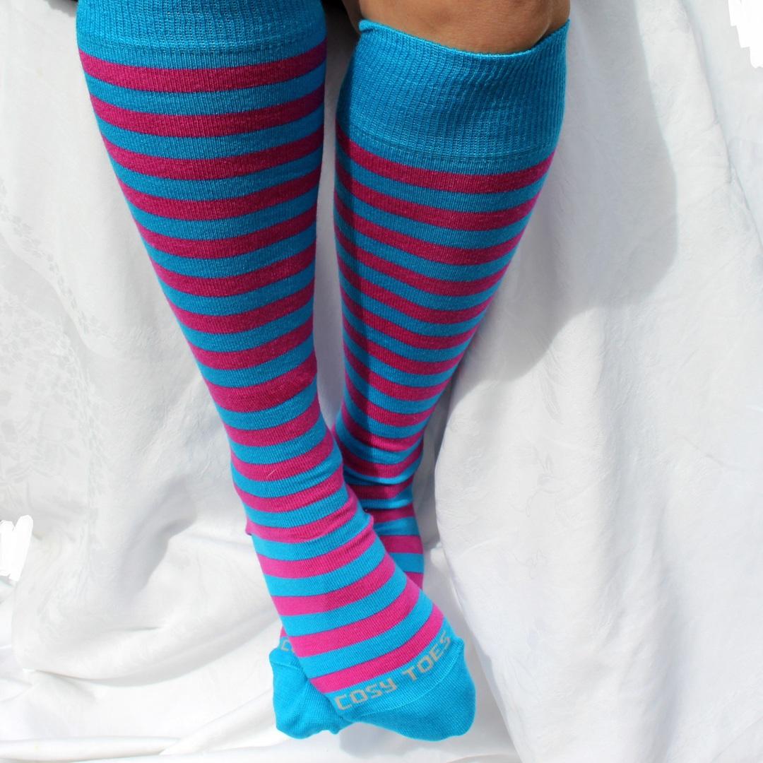 Merino Socks - Knee High Hearts and Stripes - Unisex image 1