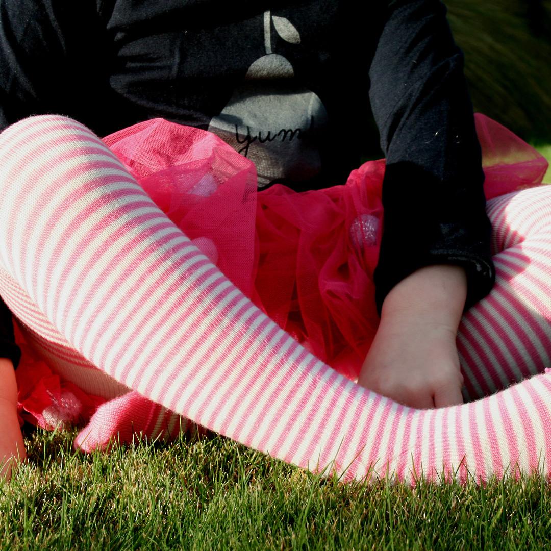 Merino Wool Tights - Rose Stripe image 0