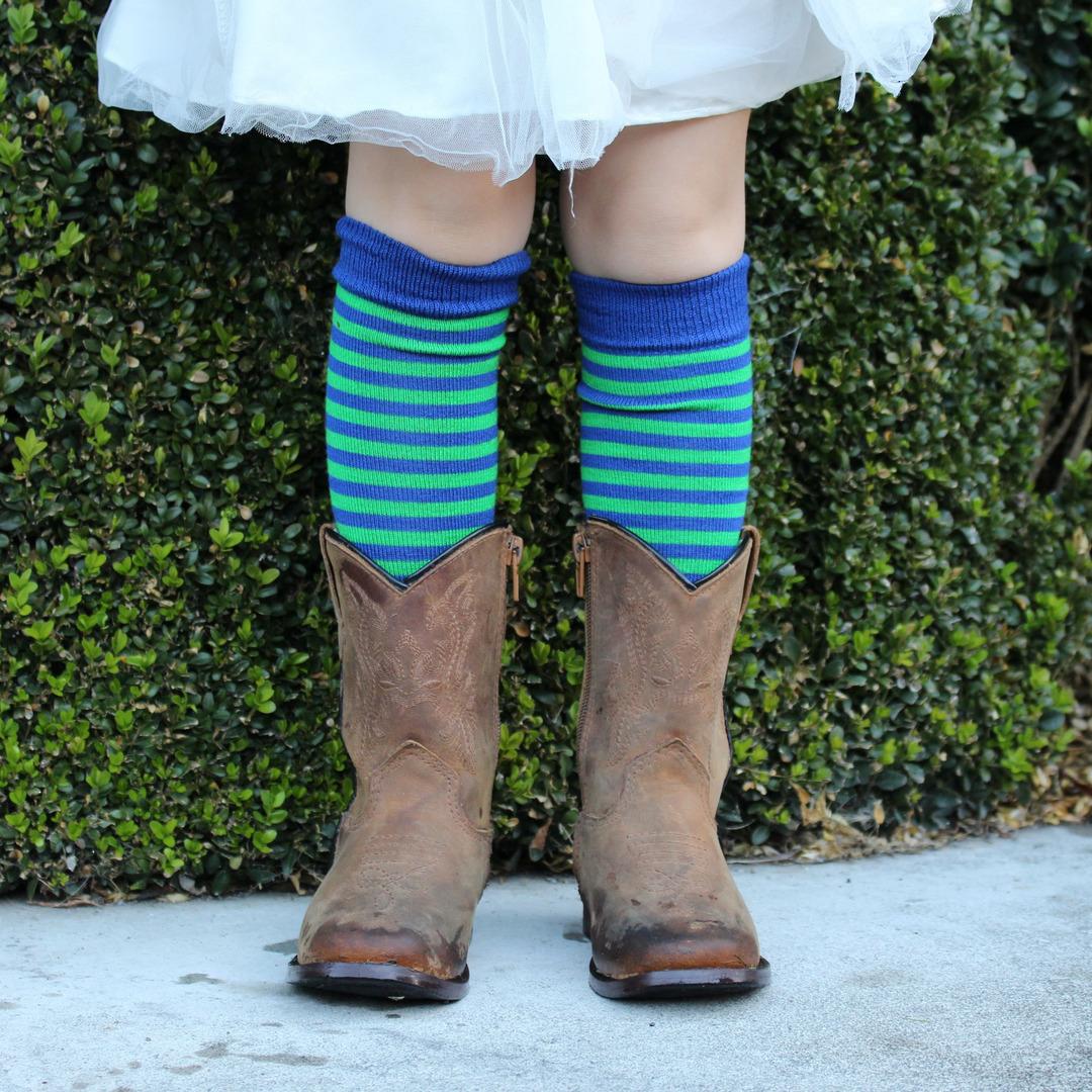 Long Merino Blue Lime Stripe Socks - Child image 0