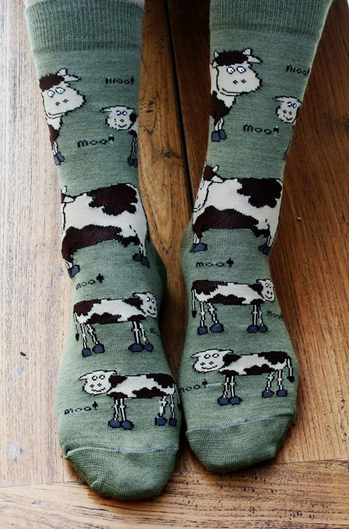 Farm Animal Merino Socks - cows & sheep image 1