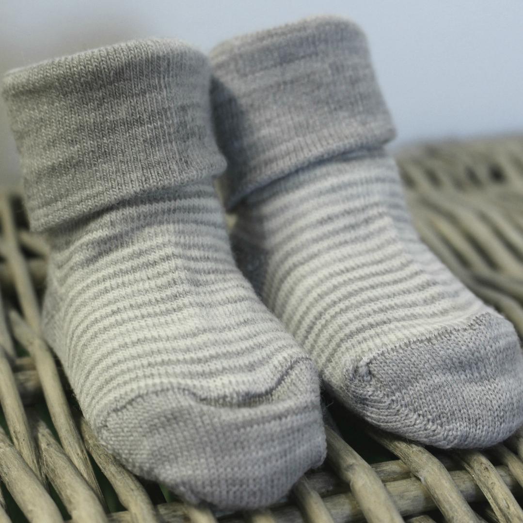 Baby Merino Socks with Stripes image 1