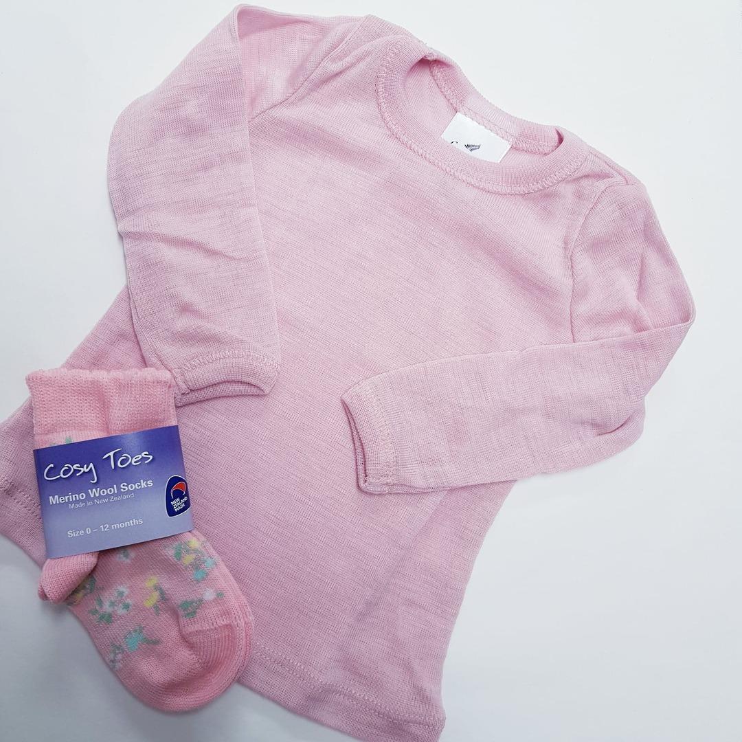 Merino Wool Baby Top - plain image 1