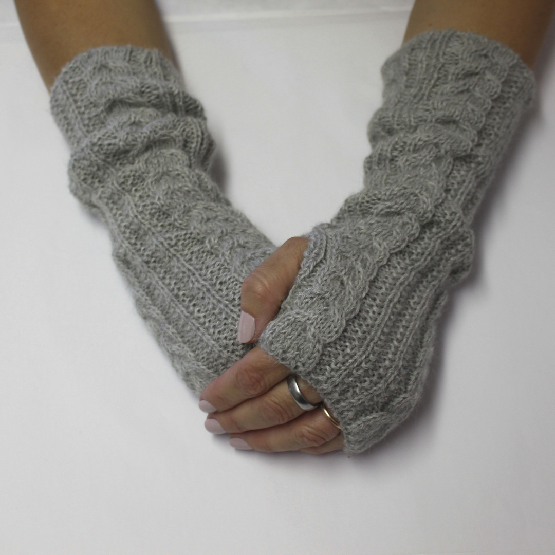 Merino Alpaca Blend Cable Arm and Hand Warmers image 1