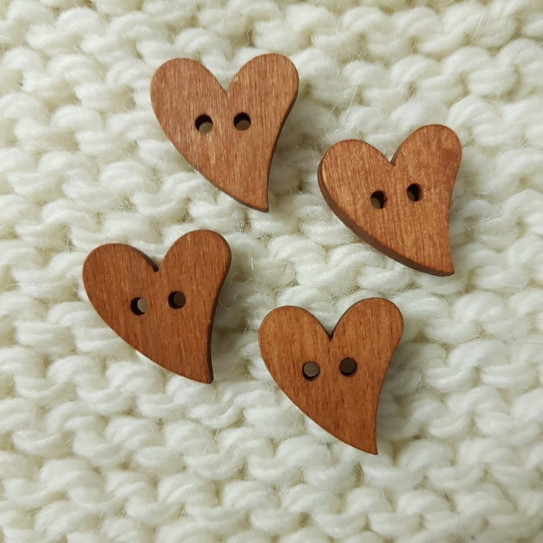 Wooden Heart Buttons - 15mm. Pack of 4 image 0