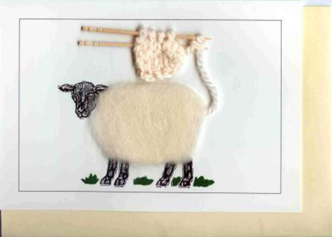 Sheep with Knitting Gift Card image 0