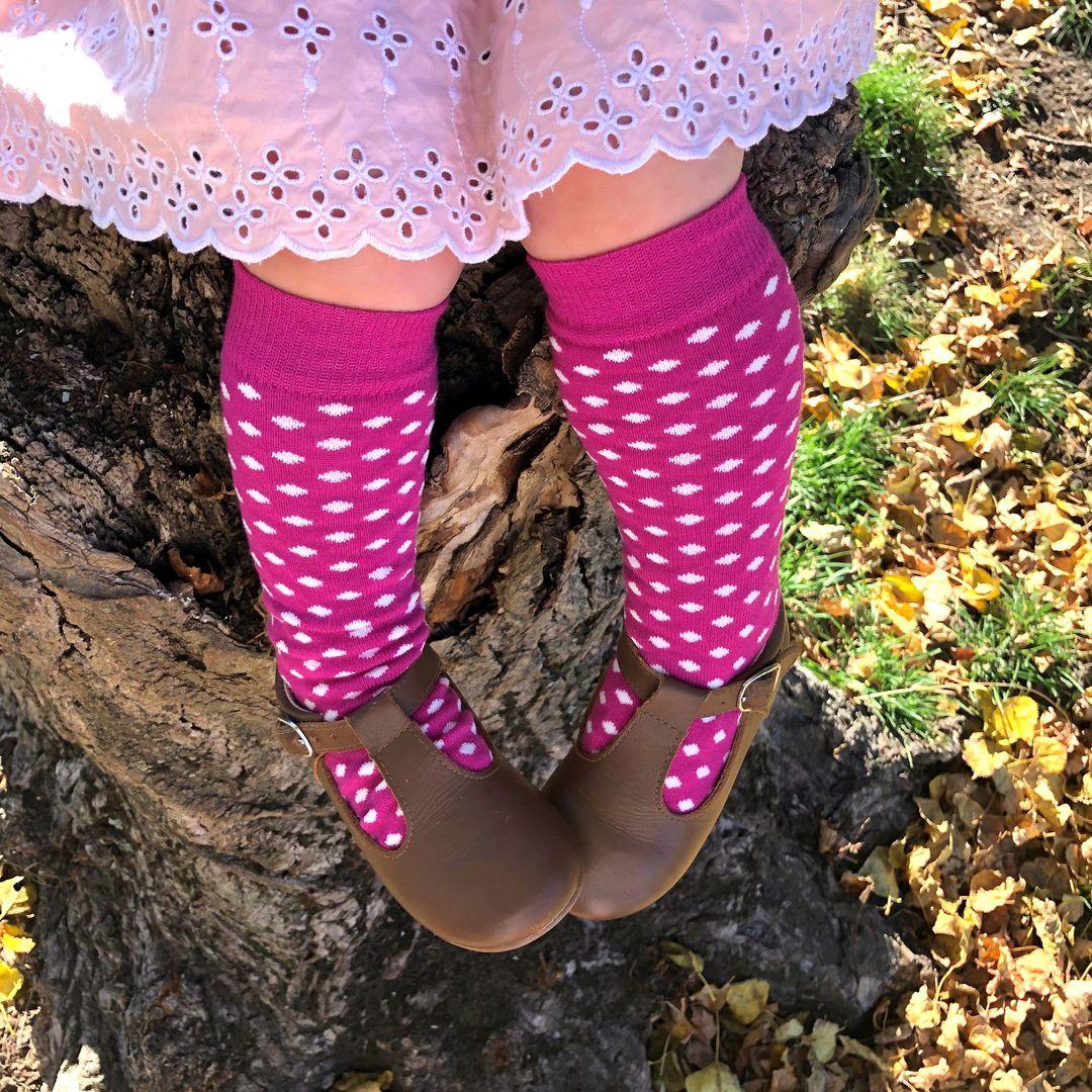 Long Merino Stripe Baby Socks - pink with white dots image 0