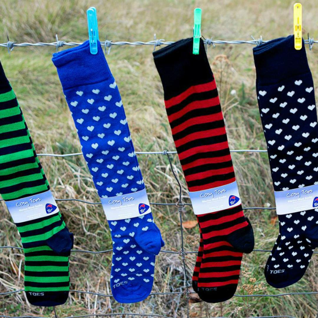 Merino Socks - Knee High Hearts and Stripes - Unisex image 0